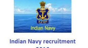 Indian navy Recruitment 2016 for 486 posts apply online at www.joinindiannavy.gov.in
