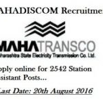 Mahadiscom recruitment 2016 for 2542 posts of Station Assistant apply online www.mahadiscom.in