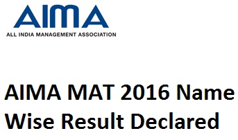 AIMA MAT 2016 Name Wise Result