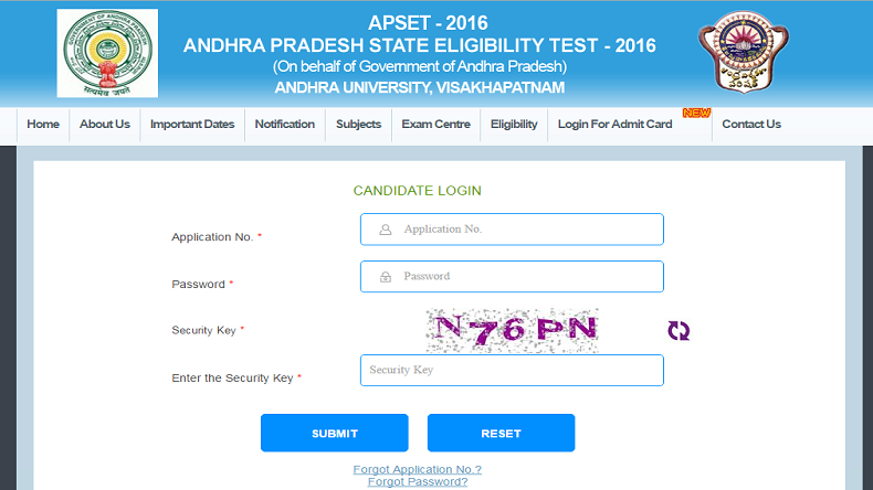 APSET Admit Card 2016