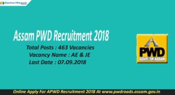 Assam PWD Recruitment 2018 Assistant Engineer AE & Junior Engineer Application Form