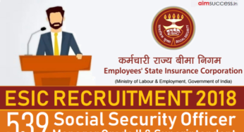ESI Corporation SSO Recruitment 2018 Manager Grade-II Online Application Form
