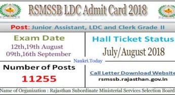Rajasthan LDC Admit Card 2018 Jr. Clerk Call Letter @ www.rsmssb.rajasthan.gov.in/