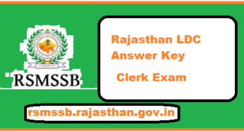 Rajasthan LDC Answer Key 2018, RSMSSB Junior Assistant 12th, 19th August and 09, 19 September 2018 Exam Paper Solution